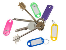 House key with blank label Stock Photo