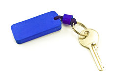 House key with blue tag Stock Image