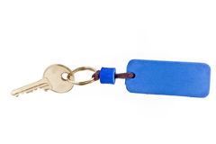 House key with blue tag Stock Images