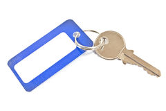 House key with blue tag Royalty Free Stock Image