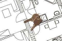 House key on a blueprint Stock Image