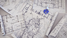 House Key on a blueprints. 3d rendering of  House Key on a blueprints Stock Photo