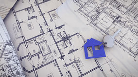 House Key on a blueprints. 3d rendering of  House Key on a blueprints Stock Photography
