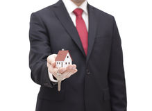 House key in businessman hand. With clipping path Royalty Free Stock Photos