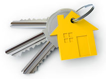 House key with charm. On a white background, 3d render Stock Image