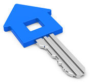The house key. 3d generated picture of a blue house key Royalty Free Stock Photos
