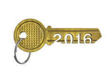 House key 2016. 3D render of metallic key with year 2016 Stock Image