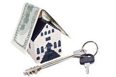 House, key and dollar Royalty Free Stock Photography