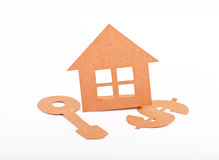 House, Key and Dollar Sign Cut-outs Royalty Free Stock Image