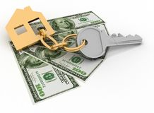 House key and dollars Stock Photography