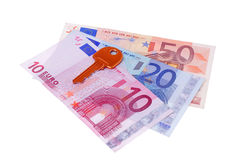 House key and euro banknotes Royalty Free Stock Photo