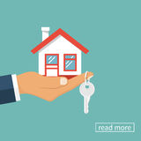 House and key in hand Royalty Free Stock Photo