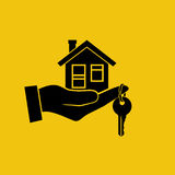 House key in hand icon. stock illustration