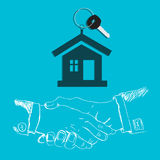 House, key, handshake, design, flat Stock Image