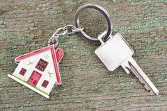 House key on keyring. With model house Stock Image