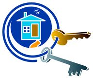 House and key logo. Isoated illustrated house and keys logo design Stock Images