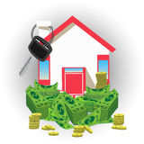 House key with money. an icon  a red roof Stock Image