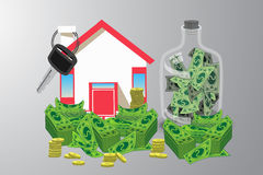 House key with money and piggy bank. an icon. With a red roof. on a gray background. Illustrations. Use for Website, phone, computer, printing, fabric Royalty Free Stock Photo