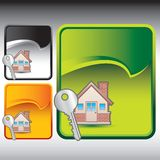 House and key on multicolored rip curl signs Royalty Free Stock Images