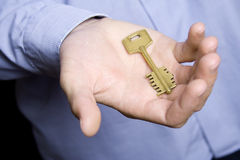 House key in palm Royalty Free Stock Photo