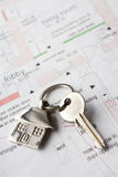 House key on plans Royalty Free Stock Image