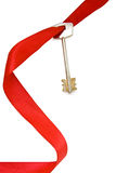 House key with red ribbon Stock Photography
