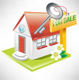 House with key and for sale sign Royalty Free Stock Image