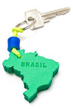 House key with tag in form of Brazil border Royalty Free Stock Photo