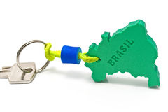 House key with tag in form of  Brazil border Stock Photography