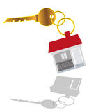 House Key. Vector illustration of house key with house tag on white background Royalty Free Stock Images