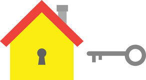 House with key. Vector yellow house icon with grey key Royalty Free Stock Images