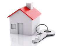 House with key on white background. Real estate concept Stock Images