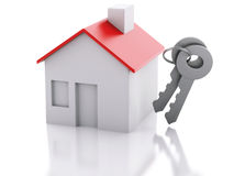 House with key on white background. Real estate concept Stock Photos