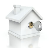 House with the key. White house with the key  - 3D illustration Royalty Free Stock Images