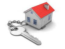 House keychain. 3d illustration of house keychain, over white Royalty Free Stock Images