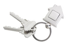 House keys. With a blank keyring fob for your logo or graphic Royalty Free Stock Photo