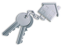 House Keys. Illustration of two keys linked to a house shaped fob Royalty Free Stock Photo