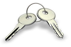 House keys. Isolated on a white Royalty Free Stock Photography