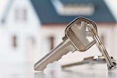 House keys. Hose keys with house on background Royalty Free Stock Photography