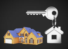 House and keys. Cottage and key on a black background Stock Images