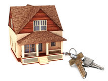 House with keys. Home buying,ownership or security concept Royalty Free Stock Photo