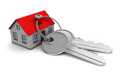 House with keys. 3d illustration of keys and house, over white background stock illustration