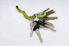 House Keys. A well-worn set of house,car and office keys on a rope keychain Stock Image