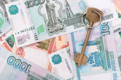 House keys and banknotes Stock Photo