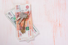 House keys and banknotes Stock Image