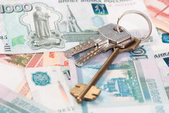 House keys and banknotes Stock Photography