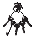 House keys. A black set of house keys Stock Photos