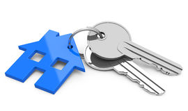 The house keys. 3d generated picture of a house keychain and two keys Stock Image