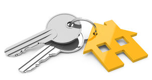 The house keys. 3d generated picture of orange house keys Royalty Free Stock Image