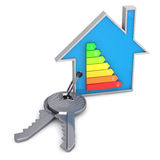 House keys. 3d render of keys with an house shaped key ring Royalty Free Stock Image